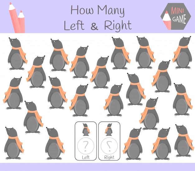 Обучающая игра «считать левую и правую картинки для детей с родинкой» Premium векторы