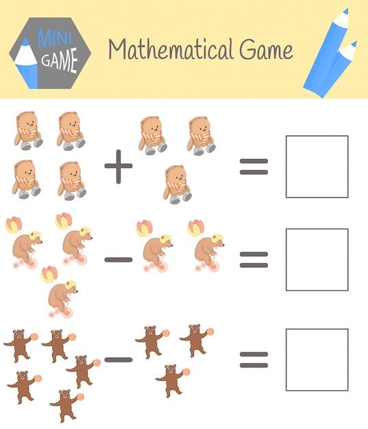 就学前教育の数学に関するワークブック。子供向けのパズル。数えることを学ぶ。例を解く Premiumベクター