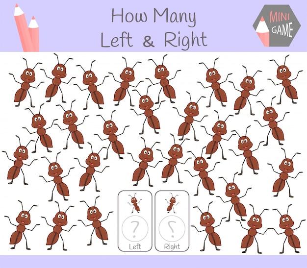 Обучающая игра «подсчет левых и правых картинок» Premium векторы