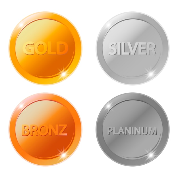 Золотые, серебряные, бронзовые и платиновые медали Premium векторы
