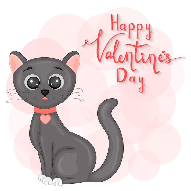 漫画動物とバレンタインデーのレタリングを設定します。猫の中のステッカー。 Premiumベクター