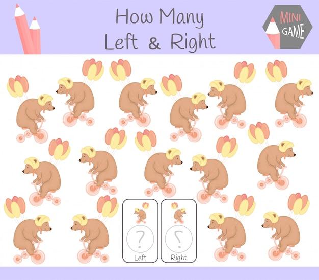 Обучающая игра «считать левую и правую картинки для детей с медведем» Premium векторы