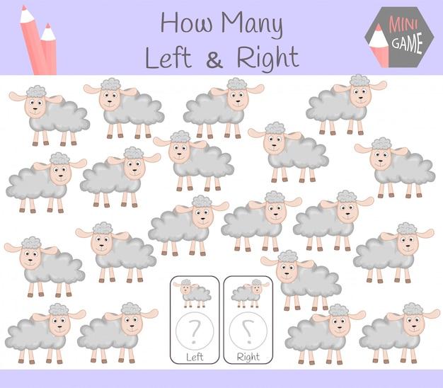 Обучающая игра «подсчет левых и правых картинок для детей с овцами» Premium векторы