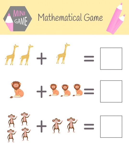 就学前教育のための数学に関するワークブック。子供のためのパズル数えることを学ぶ。例を解く Premiumベクター