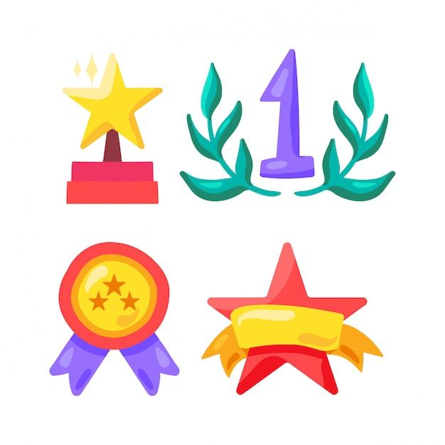 Символ премии и победителя в спорте, шоу-бизнесе и жизни Premium векторы