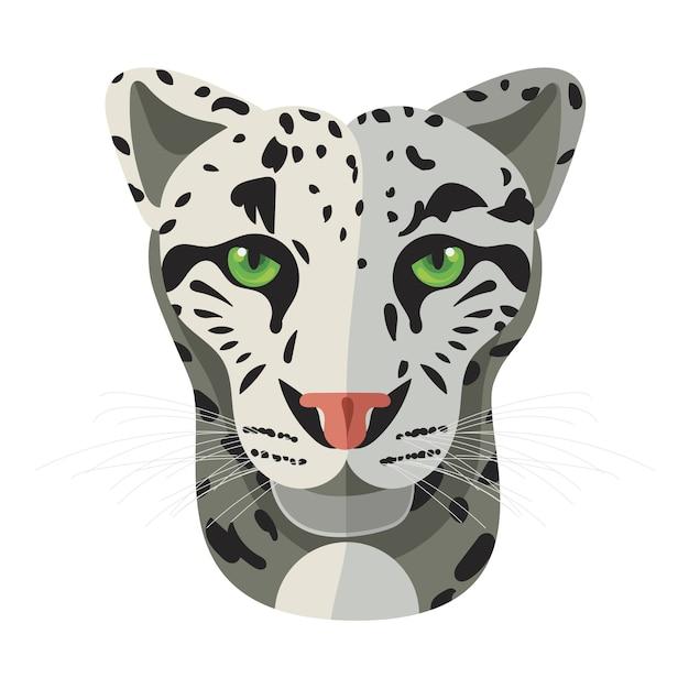 Лицо дикой кошки, голова снежного бара Premium векторы