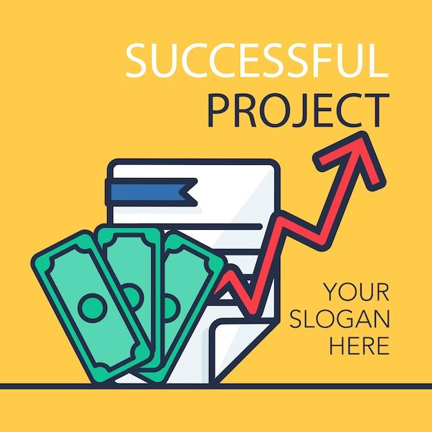 Успешный баннер проекта Premium векторы