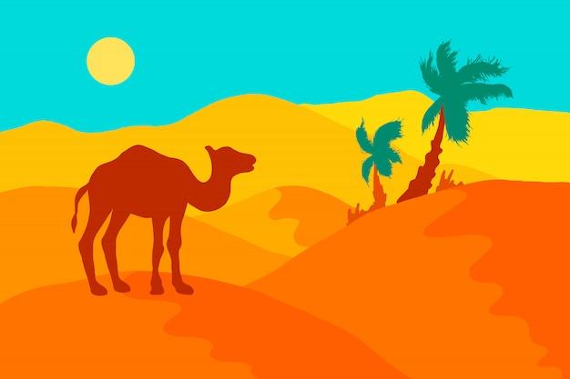 ラクダ、ヤシの木と太陽と砂漠の風景。 Premiumベクター