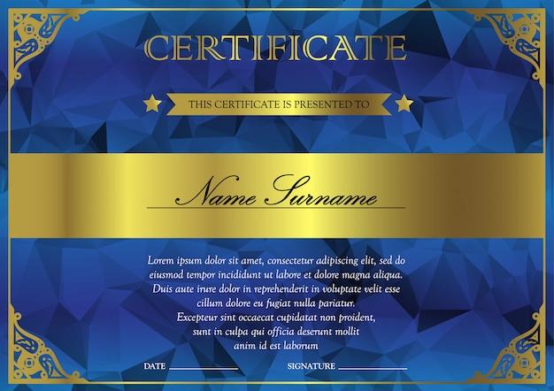 Горизонтальный синий и золотой сертификат и шаблон диплома с винтажные, цветочные, филигрань для победителя для достижения. бланк призового купона Premium векторы
