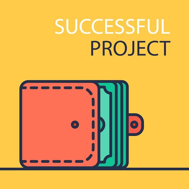 黄色、成功したプロジェクトバナーの赤い財布 Premiumベクター