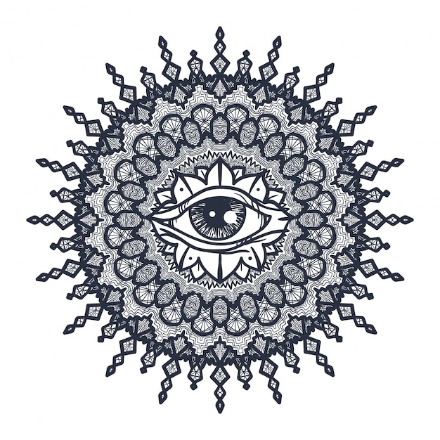 Всевидящее око в мандале Premium векторы