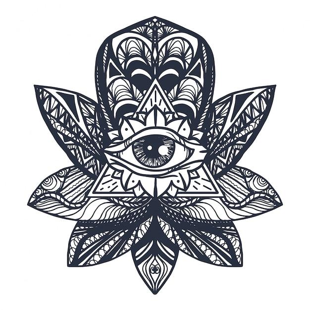 蓮のタトゥーの目 Premiumベクター