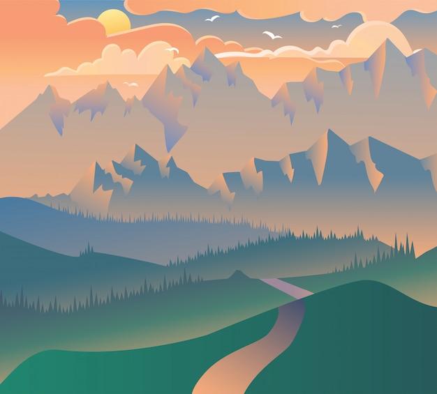 朝の風景自然森林キャンプイラスト Premiumベクター