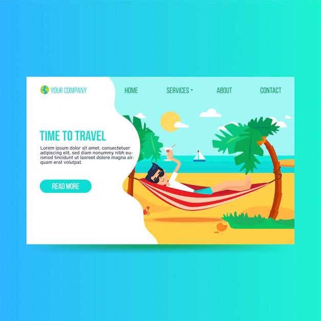 Шаблон плоской целевой страницы туристического агентства Premium векторы