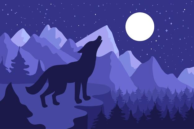 丘の中腹にハウリング野生のオオカミ Premiumベクター