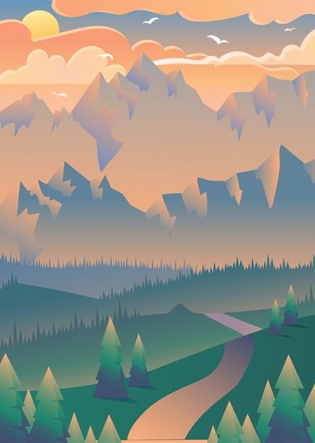 森の図の夕日 Premiumベクター