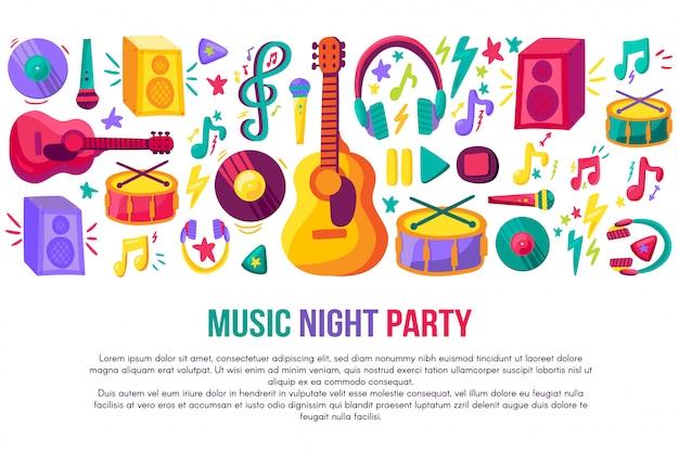 Музыкальная вечеринка приглашение плакат вектор шаблон Premium векторы