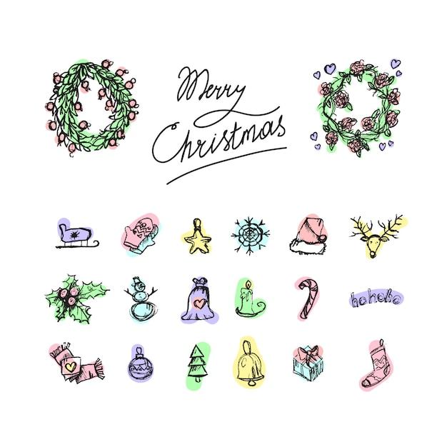 Веселые рождественские иконки. с новым годом символы. знаки зимнего отдыха. Premium векторы