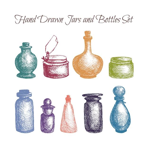 手描きの孤立したヴィンテージガラスの瓶とボトルセット Premiumベクター