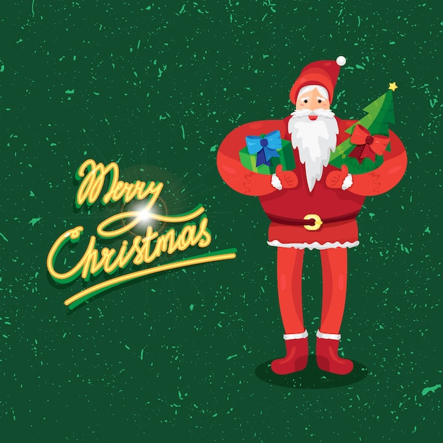 サンタクロースまたは父フロストとギフトとモミの手でメリークリスマスの挨拶ベクター Premiumベクター