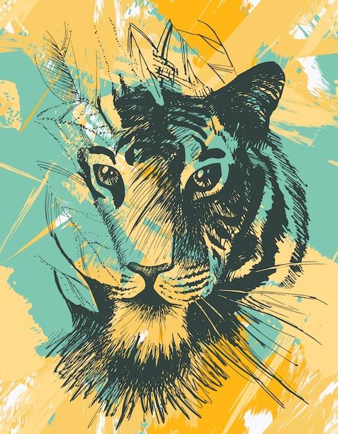 Гранж дикий тигр Premium векторы