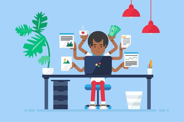 デスク、椅子、ノートブックを備えたプロの働くアフリカ系アメリカ人の管理者のワークスペース Premiumベクター