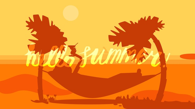 Привет лето надпись Premium векторы