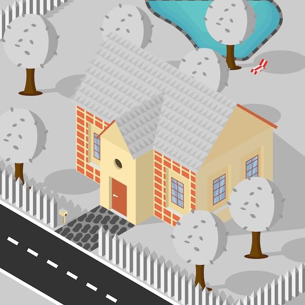 アイソメスタイルの家の木プール冬の降雪の背景イラスト Premiumベクター