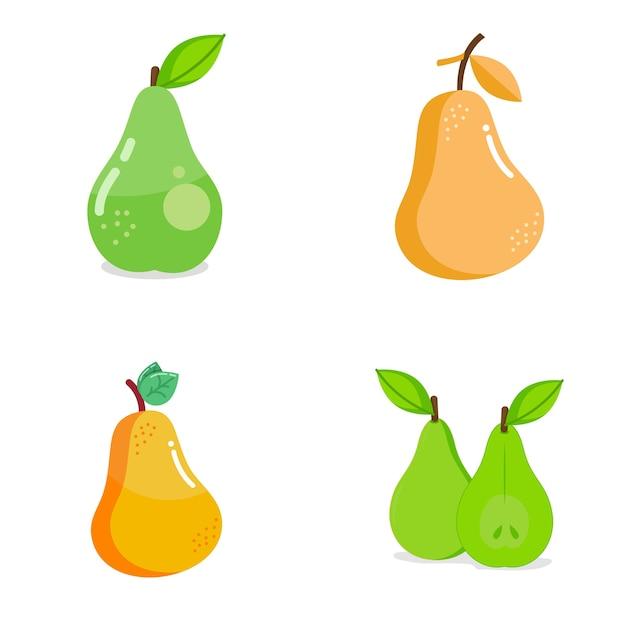 Логотип груши фруктов Premium векторы