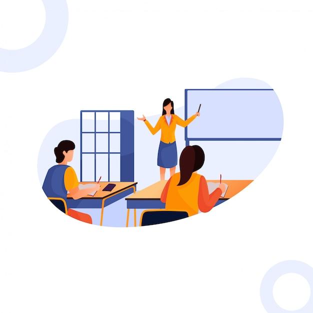 先生のイラストはクラスで子供たちを教える Premiumベクター