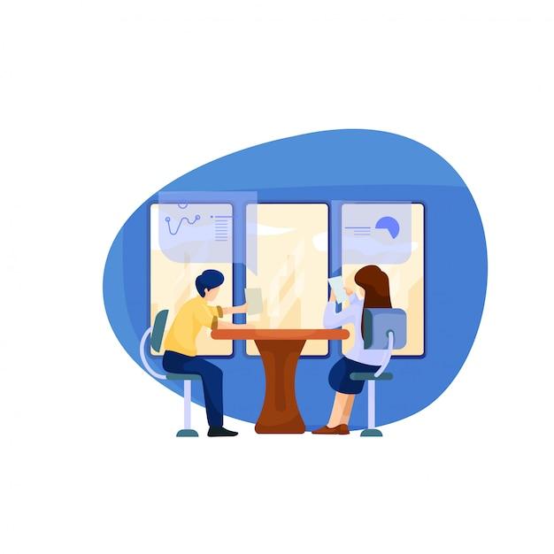 男性と女性のイラストがオフィスで一緒に議論します。 Premiumベクター