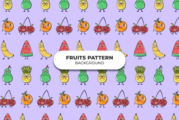 かわいい果物パターンベクトル 無料ベクター