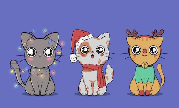 Коллекция симпатичных рождественских кошек Бесплатные векторы