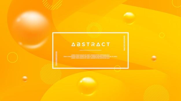 動的液体の形をしたオレンジ色の抽象的な背景。 Premiumベクター