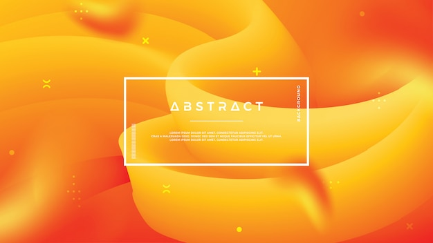 抽象的な波の流れオレンジ色の背景 Premiumベクター