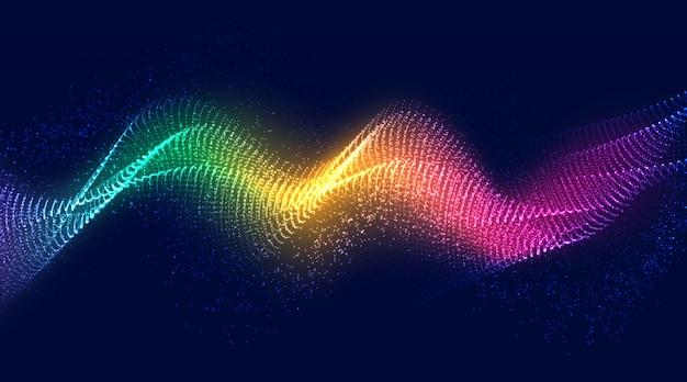 動的な抽象的なカラフルな液体の流れの粒子の背景。 Premiumベクター