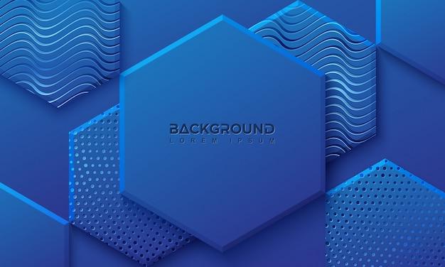 点と線の組み合わせで六角形の背景。 Premiumベクター