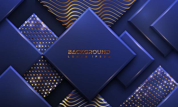 Синий фон с сочетанием светящихся золотых точек и линий. Premium векторы