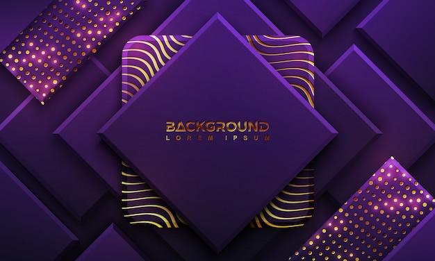 点と線の組み合わせで豪華な紫色の背景。 Premiumベクター