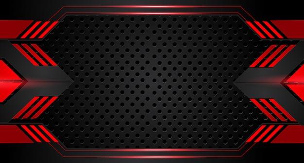 抽象的なメタリック赤黒フレームレイアウトデザイン技術革新コンセプトの背景 Premiumベクター