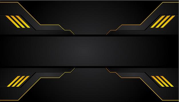 抽象的なメタリックイエローオレンジブラックフレームデザインイノベーションコンセプトレイアウトの背景。 Premiumベクター