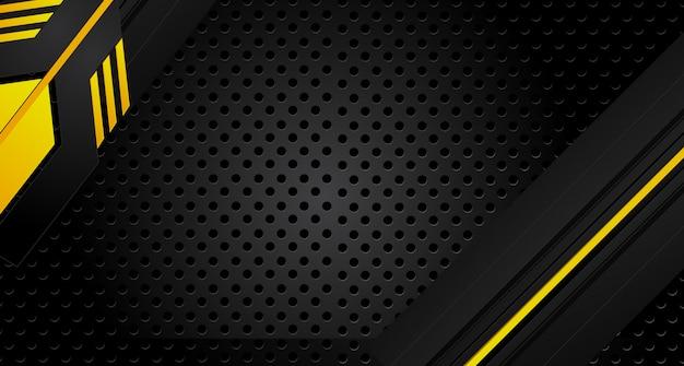抽象的なメタリックイエローオレンジブラックフレームデザインイノベーションコンセプトレイアウトの背景 Premiumベクター