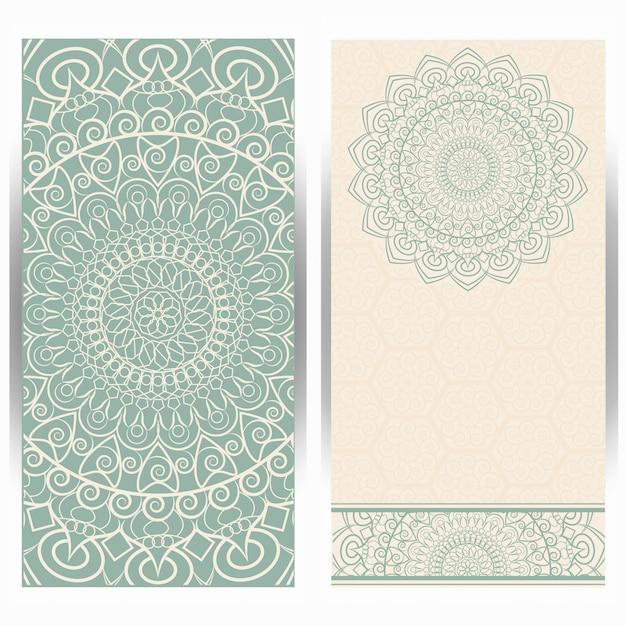 マンダラパターンとビンテージの結婚式の招待カード Premiumベクター
