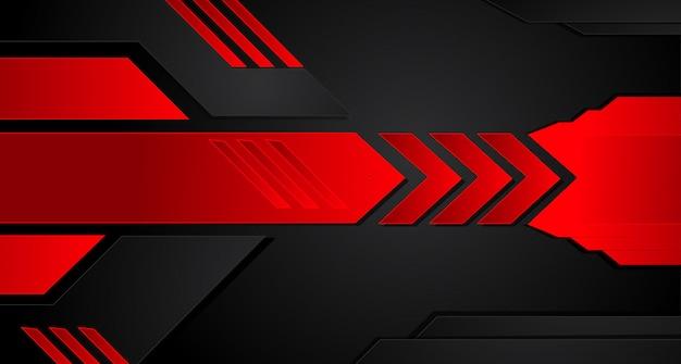 Абстрактный металлический красный черная рамка макета современный технический дизайн шаблона фон. Premium векторы