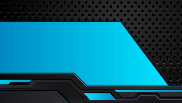 青と黒の抽象的なメタリックフレームレイアウトデザイン技術革新コンセプトの背景 Premiumベクター