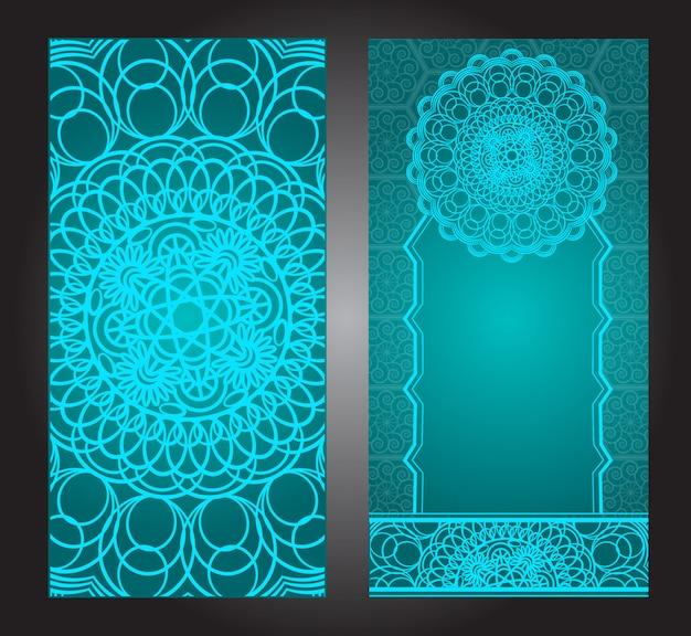 Винтаж свадебные приглашения с узором мандала, цветочный узор мандалы и украшения. восточный дизайн. азиат, араб, индиец, Premium векторы