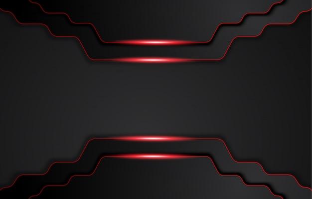 Абстрактный металлический красный черный фон с контрастными полосами. абстрактный графический дизайн брошюры Premium векторы