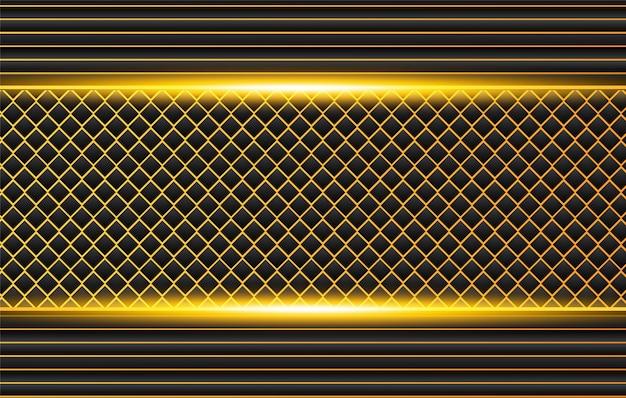 コントラストオレンジイエローストライプとハイテク黒背景。抽象的なベクトルグラフィックパンフレットデザイン Premiumベクター