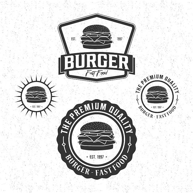 バーガービンテージロゴ Premiumベクター