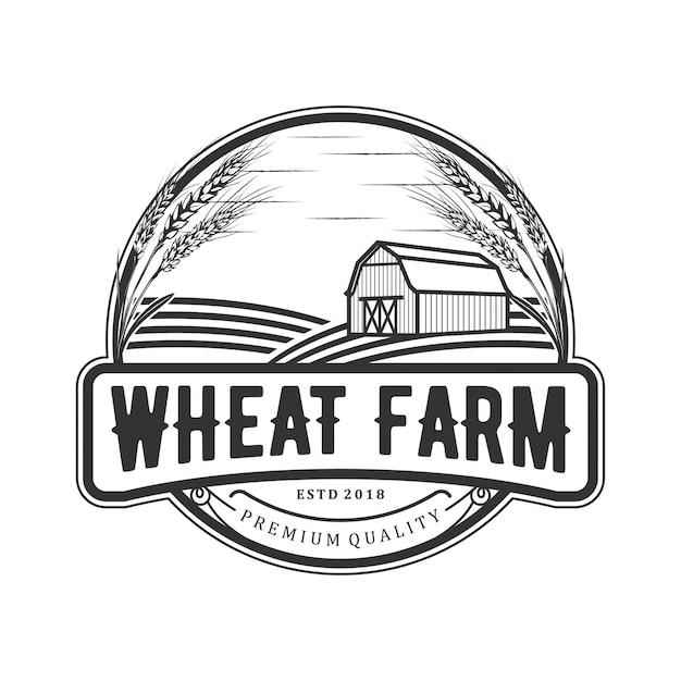 Пшеничный винтажный логотип Premium векторы